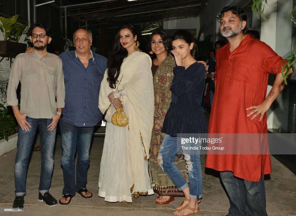 Alia Bhatt Rekha Vidya Balan Mahesh Bhatt and Vishesh Bhatt at the screening of `Begum Jaan` in Mumbai