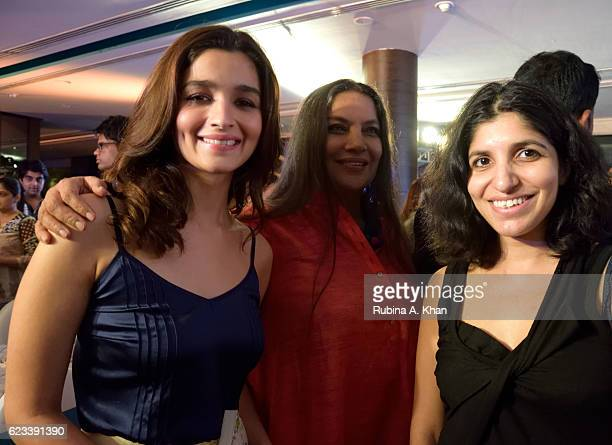 Alia Bhatt Shabana Azmi and Chiki Sarkar at the launch of Twinkle Khanna's second book The Legend of Lakshmi Prasad published by Juggernaut Books at...