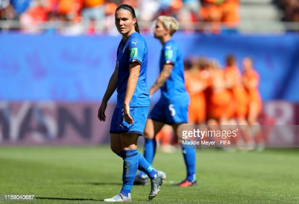 Alia Guagni of Italy looks dejected during the 2019 FIFA Women's World Cup France Quarter Final match between Italy and Netherlands at Stade du...
