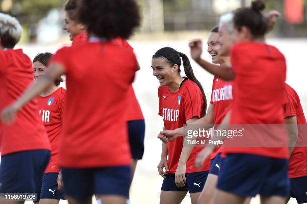 Alia Guagni of Italy Women smiles during a training session at Stadium Lille Metropole on June 17, 2019 in in Villeneuve d'Ascq near Lille, France.
