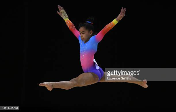 Alia Leat of Heathrow Gym Club performs her beam routine during the Womens Junior AllAround during the Gymnastics British Championships at Echo Arena...