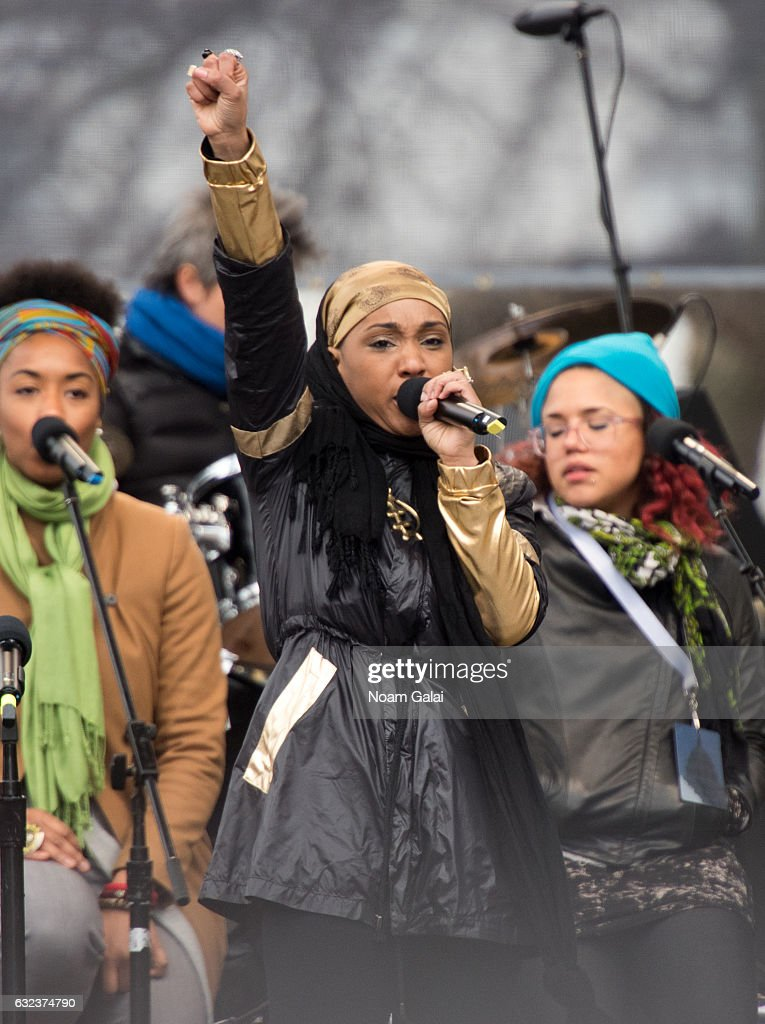 Alia Sharrief performs at the Women's March on Washington on January 21, 2017 in Washington, DC.