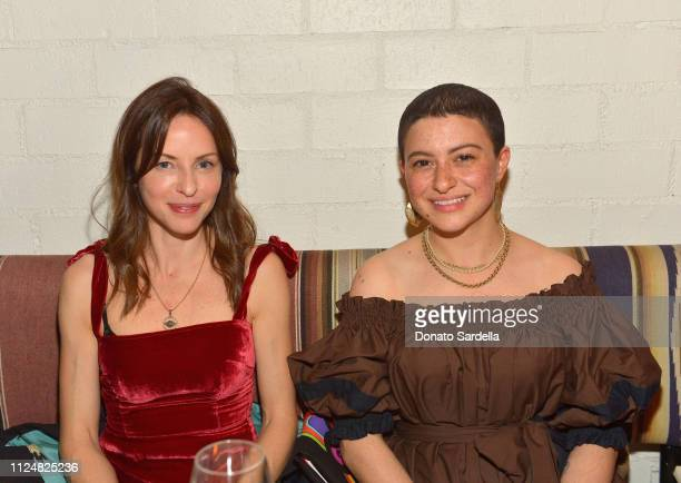 Alia Shawkat and guest attend Liz Goldwyn and MATCHESFASHIONCOM celebrate the launch of Frieze LA at Gracias Madre on February 13 2019 in West...