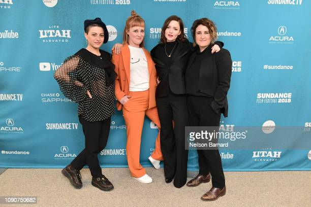 Alia Shawkat Emma Jane Unsworth Holliday Grainger and Sophie Hyde attend the Animals Premiere during the 2019 Sundance Film Festival at Eccles Center...