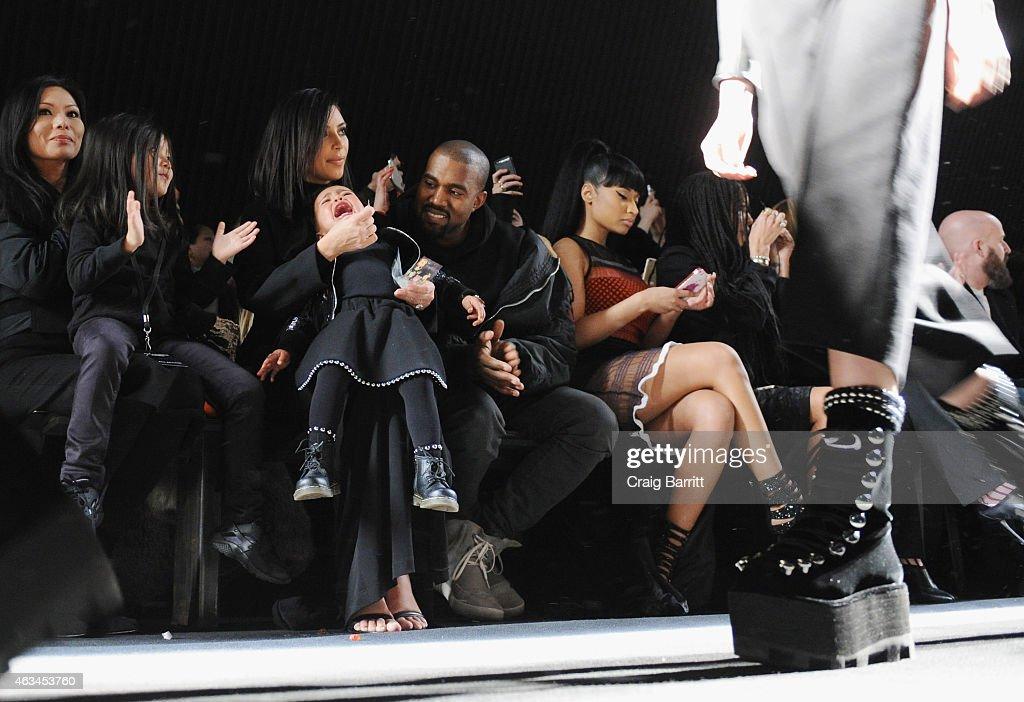 Alia Wang, Aimie Wang, Kim Kardashian, North West, Kanye West and Nicki Minaj attend the Alexander Wang Fashion Show during Mercedes-Benz Fashion Week Fall 2015 at Pier 94 on February 14, 2015 in New York City.