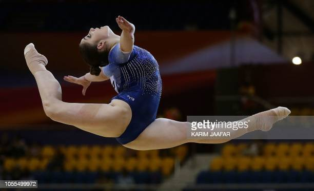 TOPSHOT Aliaa Mustafina of Russia competes in the floor during women's team final of the 2018 FIG Artistic Gymnastics Championships at Aspire Dome on...