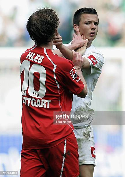 Aliaksandr Hleb of Stuttgart comes to blows with the opposition during the Bundesliga match between Borussia Monchengladbach and VfB Stuttgart at the...