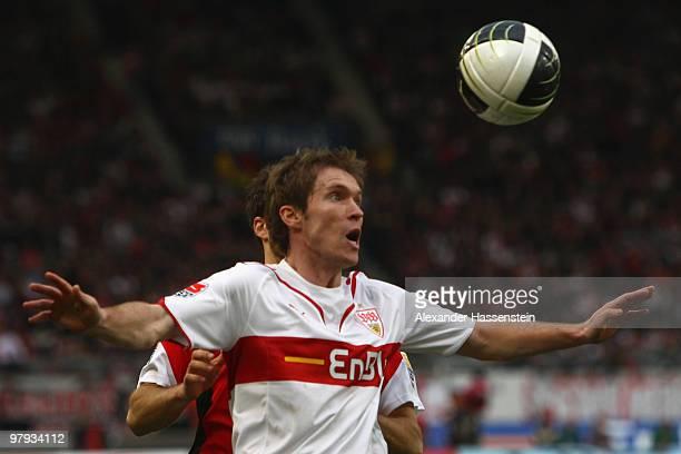 Aliaksandr Hleb of Stuttgart controlls the ball during the Bundesliga match between VfB Stuttgart and Hannover 96 at MercedesBenz Arena on March 20...