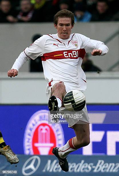 Aliaksandr Hleb of Stuttgart plays the ball during the Bundesliga match between VfB Stuttgart and Borussia Dortmund at the MercedesBenz Arena on...
