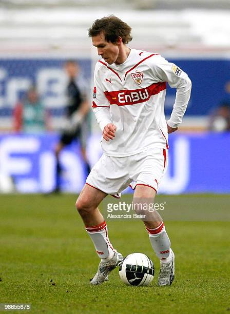 Aliaksandr Hleb of VfB Stuttgart runs with the ball during the Bundesliga match between VfB Stuttgart and Hamburger SV at MercedesBenz Arena on...