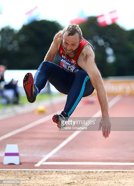 Aliaksandr Suota of Belarus competes in the mens long jump T47 event during day two of the IPC Athletics European Championships at Swansea University...