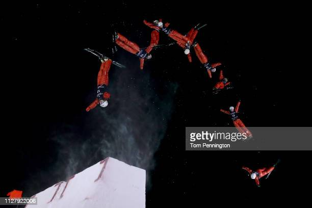 Aliaksandra Ramanouskaya of Belarus competes in the Ladies' Aerials Final at the FIS Freestyle Ski World Championships on February 06 2019 at Deer...