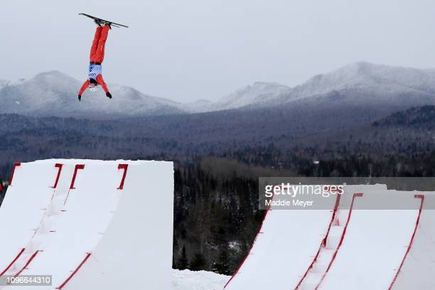 Aliaksandra Ramanouskaya of Belarus competes in Women's Aerials Qualifications during the FIS Freestyle Ski World Cup 2019 at the Lake Placid Ski...