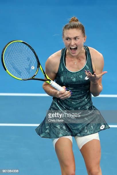 Aliaksandra Sasnovich of Belarus celebrates winning her match against Anastasija Sevastova of Latvia during day six of the 2018 Brisbane...