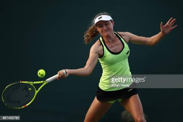 Aliaksandra Sasnovich of Belarus in action against Johanna Konta of Great Britain at Crandon Park Tennis Center on March 24 2017 in Key Biscayne...