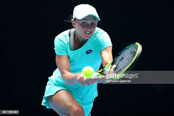 Aliaksandra Sasnovich of Belarus plays a backhand in her third round match against Caroline Garcia of France on day six of the 2018 Australian Open...