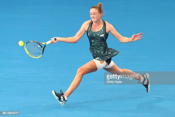 Aliaksandra Sasnovich of Belarus plays a forehand in her match against Anastasija Sevastova of Latvia during day six of the 2018 Brisbane...