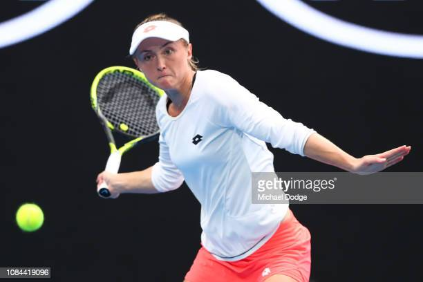 Aliaksandra Sasnovich of Belarus plays a forehand in her third round match against Anastasia Pavlyuchenkova of Russia during day five of the 2019...