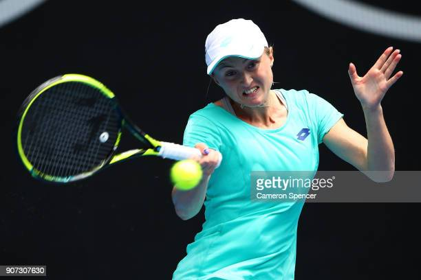 Aliaksandra Sasnovich of Belarus plays a forehand in her third round match against Caroline Garcia of France on day six of the 2018 Australian Open...