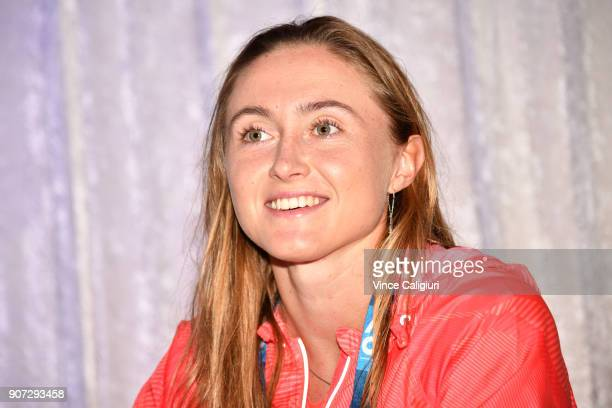 Aliaksandra Sasnovich of Belarus poses at Autograph Island during day five of the 2018 Australian Open at Melbourne Park on January 19 2018 in...