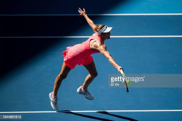 Aliaksandra Sasnovich of Belarus returns the ball against Karolina Pliskova of the Czech Republic during her women's singles second round match at...