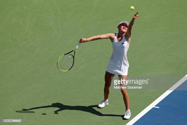 Aliaksandra Sasnovich of Belarus serves during her women's singles second round match against Daria Kasatkina of Russia on Day Four of the 2018 US...