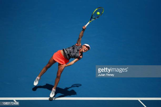 Aliaksandra Sasnovich of Belarus serves in her second round match against Anett Kontaveit of Estonia during day three of the 2019 Australian Open at...