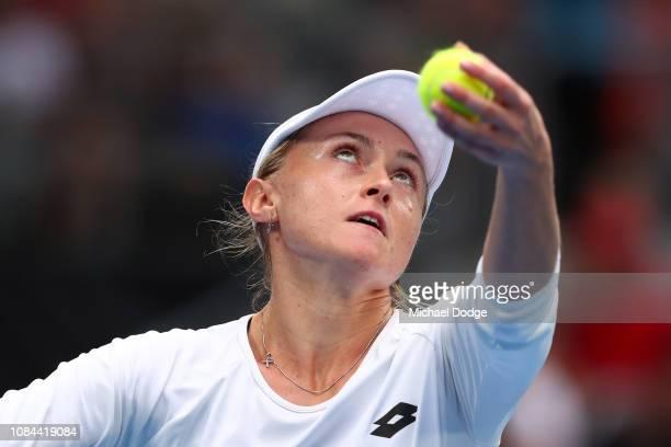 Aliaksandra Sasnovich of Belarus serves in her third round match against Anastasia Pavlyuchenkova of Russia during day five of the 2019 Australian...