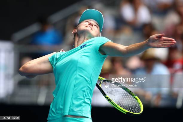 Aliaksandra Sasnovich of Belarus serves in her third round match against Caroline Garcia of France on day six of the 2018 Australian Open at...