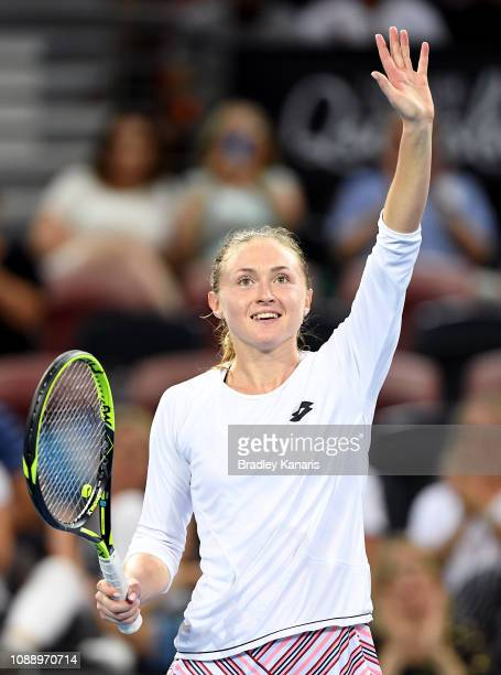Aliaksandra Sasnovich of Bulgaria celebrates victory after defeating Elina Svitolina of Ukraine during day four of the 2019 Brisbane International at...