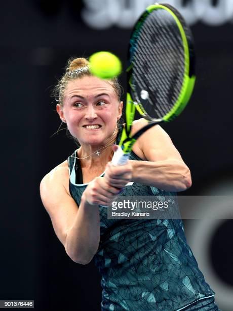 Aliaksandra Sasnovich of Bulgaria plays a backhand in her match against Anastasija Sevastova of Latvia during day six of the 2018 Brisbane...