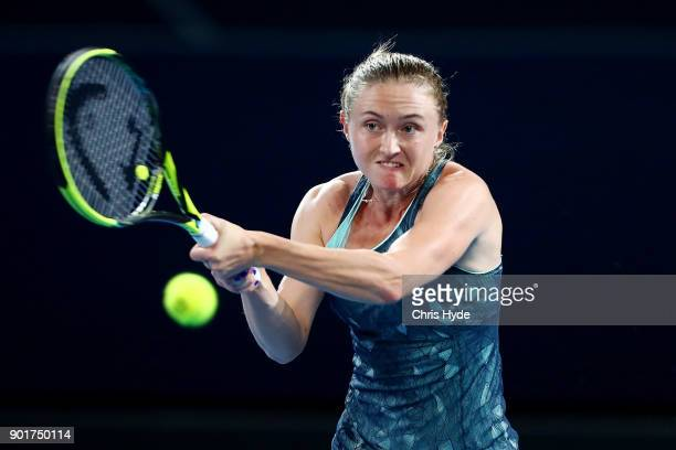 Aliaksandra Sasnovich of Bulgaria plays a backhand in the WomenÕs Final match against Elina Svitolina of Ukraineduring day seven of the 2018 Brisbane...