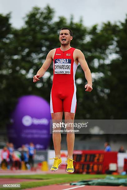 Aliaksei Chyhareuski of Belarus competes in the Men's Long Jump qualification during day one of the European Athletics U23 Championships at Kadriorg...