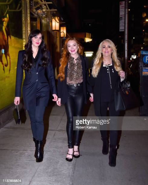 Aliana Lohan Lindsay Lohan and Dina Lohan are seen leaving the Polo Bar in Manhattan on March 25 2019 in New York City