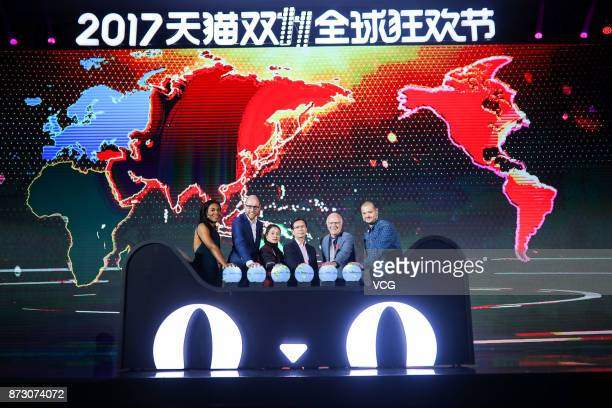 Alibaba CEO Daniel Zhang attends a ceremony at Shanghai Expo Centre at the end of the Single's Day Global Shopping Festival on November 11 2017 in...