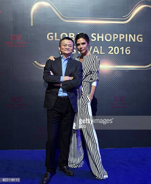 Alibaba chairman Jack Ma and British fashion designer Victoria Beckham pose for a photo during a dress rehearsal ahead of Gala of 11.11 Global...