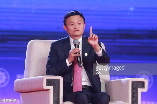 Alibaba chairman Jack Ma attends The 4th World Zhejiang Entrepreneurs Convention at Hangzhou International Expo Center on November 29 2017 in...