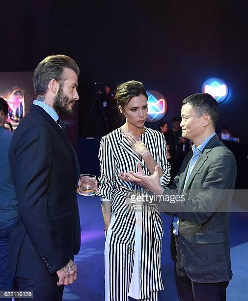 Alibaba chairman Jack Ma chats with British former footballer David Beckham and British fashion designer Victoria Beckham during a dress rehearsal...