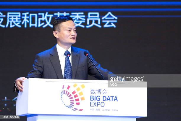 Alibaba chairman Jack Ma gives a speech at 'High Level Dialogue on Targeted Poverty Alleviation' session during the China International Big Data...
