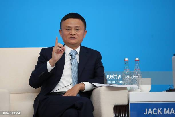 Alibaba Chairman Jack Ma speaking duirng the Hongqiao International Economic and Trade Forum in the China International Import Expo at the National...