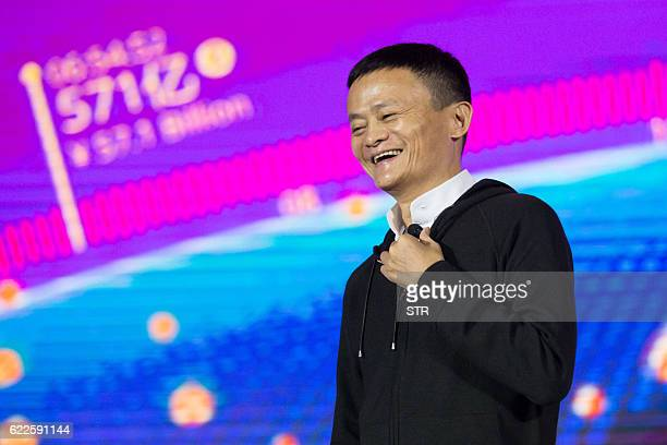 Alibaba Chairman Jack Ma speaks on stage during at the Tmall 1111 Global Shopping Festival gala in Shenzhen in south China's Guangdong province on...