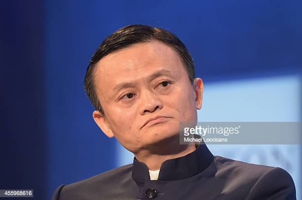 Alibaba Executive Chairman Jack Ma takes part in the Valuing What Matters Plenary Session during the third day of the Clinton Global Initiative's...