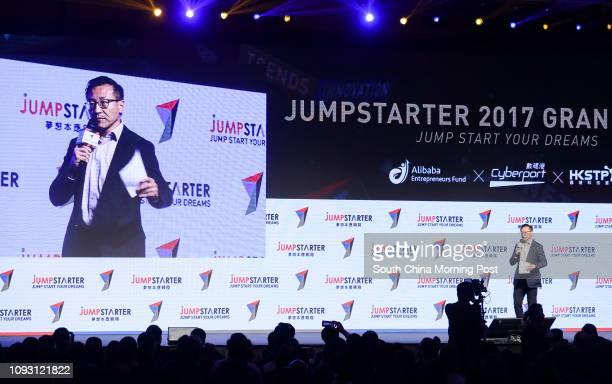 Alibaba executive vicechairman Joe Tsai Chunghsin speaks at Alibaba's Jumpstarter final at the Hong Kong Convention and Exhibition Centre in Wan Chai...
