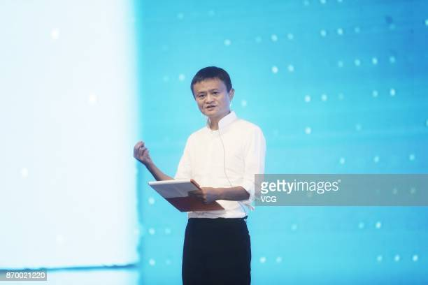 Alibaba Group Chairman Jack Ma attends a ceremony for the first eWTP hub outside of China at Digital Free Trade Zone on November 3 2017 in Kuala...