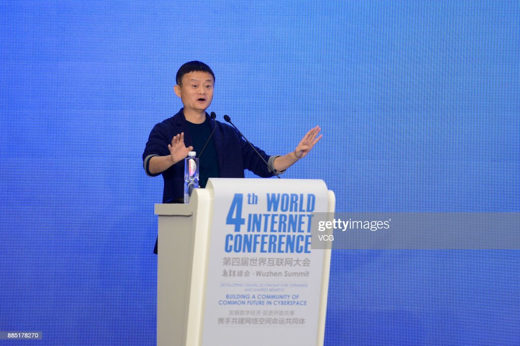 Alibaba Group Chairman Jack Ma delivers a speech during the 4th World Internet Conference on December 4, 2017 in Wuzhen, China. The 4th World Internet Conference - Wuzhen Summit themed with 'Developing digital economy for openness and shared benefits -- building a community of common future in cyberspace.' is held from Dec 3 to 5 in Wuzhen of Zhejiang.