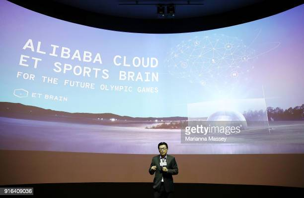 Alibaba Group CMO Chris Tung speaks during the opening of the Alibaba Group Showcase at the PyeongChang 2018 Winter Olympic Games on February 10,...
