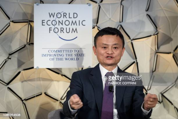 Alibaba Group cofounder and executive chairman Jack Ma gestures during a pannel session at the World Economic Forum annual meeting on January 23 2019...
