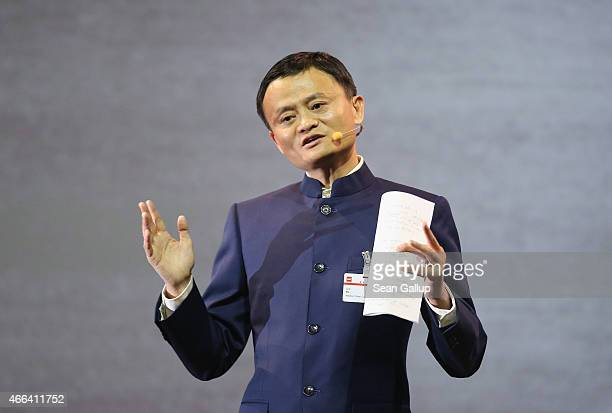Alibaba Group Executive Chairman Jack Ma speaks at the opening ceremony of the 2015 CeBIT technology trade fair on March 15, 2015 in Hanover,...