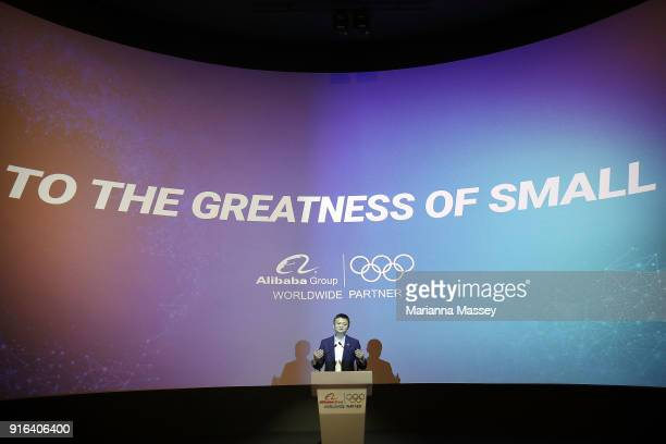 Alibaba Group Executive Chairman Jack Ma speaks at the unveiling of the Alibaba Showcase at the PyeongChang 2018 Winter Olympic Games on February 10,...