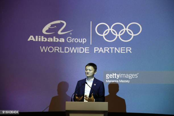 Alibaba Group Executive Chairman Jack Ma speaks at the unveiling of the Alibaba Showcase at the PyeongChang 2018 Winter Olympic Games on February 10...